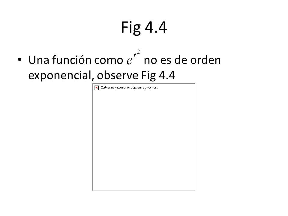 Fig 4.4 Una función como no es de orden exponencial, observe Fig 4.4