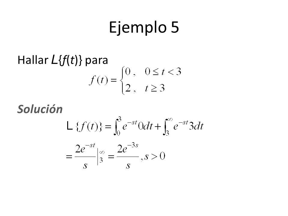 Ejemplo 5 Hallar L{f(t)} para Solución