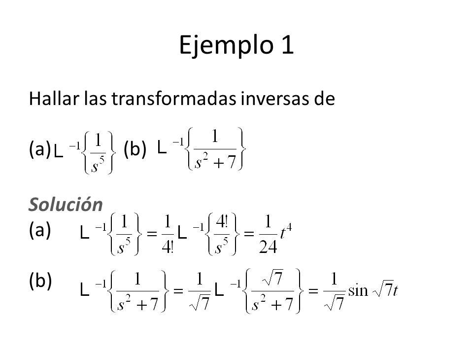 Ejemplo 1 Hallar las transformadas inversas de (a) (b)