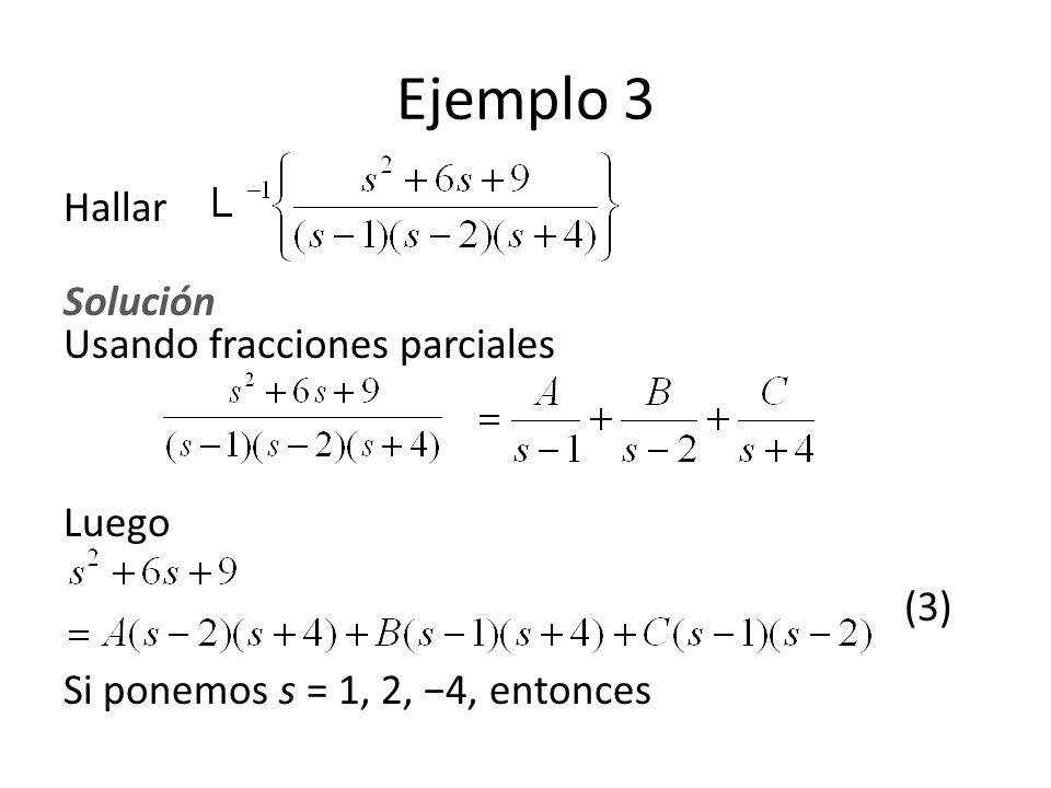 Ejemplo 3 Hallar Solución Usando fracciones parciales