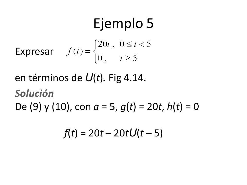 Ejemplo 5 Expresar en términos de U(t). Fig 4.14.