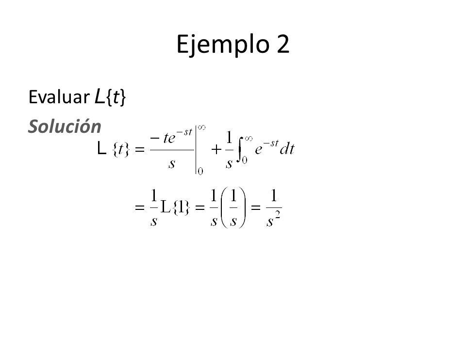 Ejemplo 2 Evaluar L{t} Solución