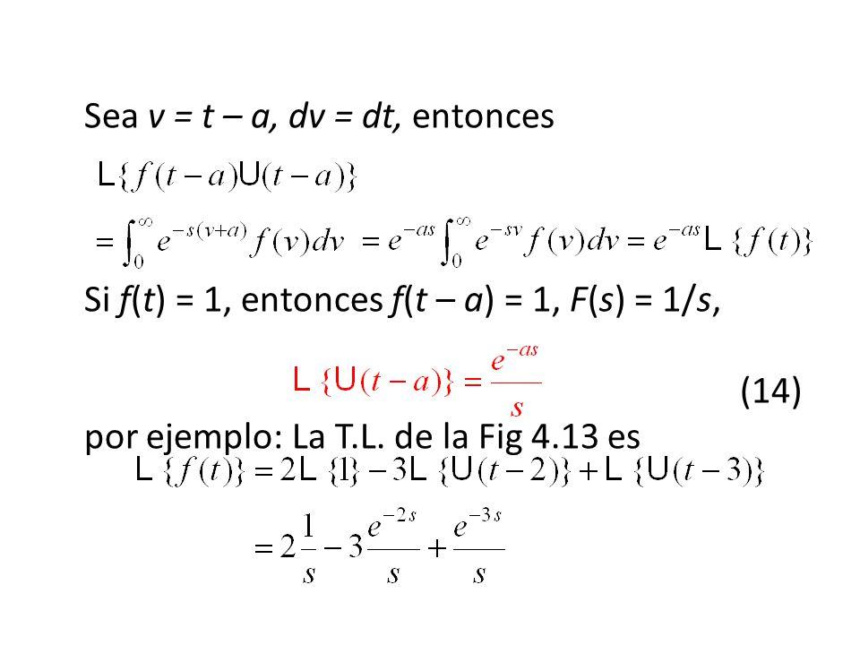 Sea v = t – a, dv = dt, entonces Si f(t) = 1, entonces f(t – a) = 1, F(s) = 1/s, (14) por ejemplo: La T.L.
