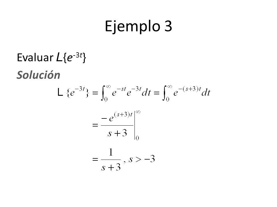 Ejemplo 3 Evaluar L{e-3t} Solución
