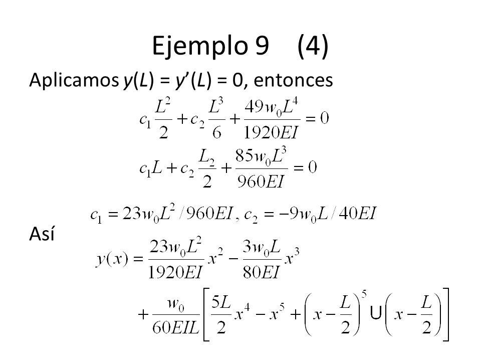 Ejemplo 9 (4) Aplicamos y(L) = y'(L) = 0, entonces Así