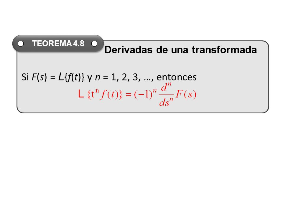Si F(s) = L{f(t)} y n = 1, 2, 3, …, entonces