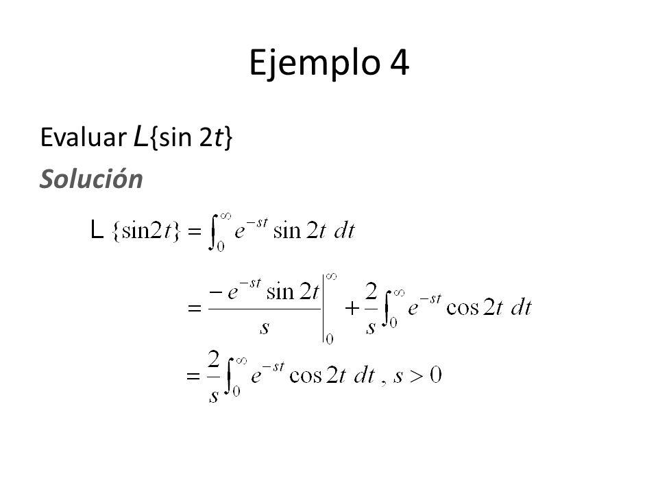 Ejemplo 4 Evaluar L{sin 2t} Solución