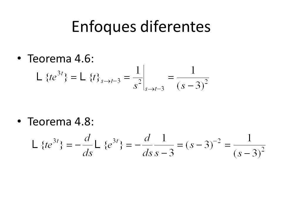Enfoques diferentes Teorema 4.6: Teorema 4.8:
