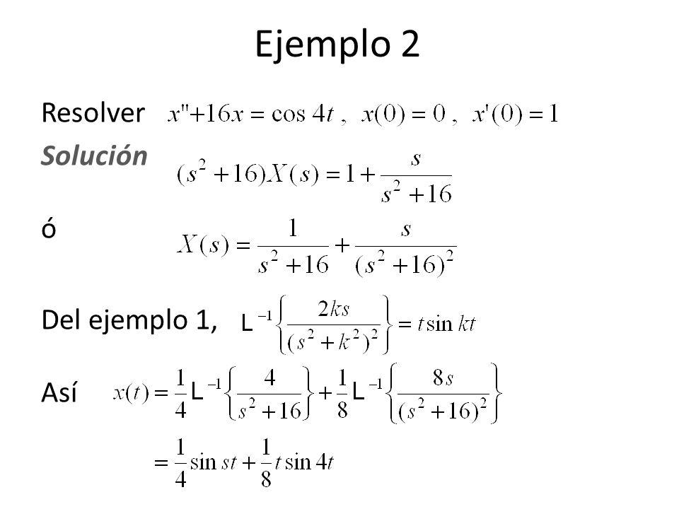 Ejemplo 2 Resolver Solución ó Del ejemplo 1, Así