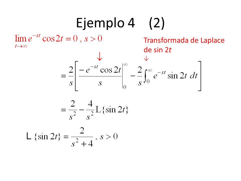 Ejemplo 4 (2) Transformada de Laplace de sin 2t ↓