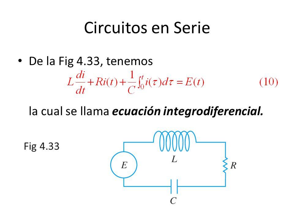 Circuitos en Serie De la Fig 4.33, tenemos