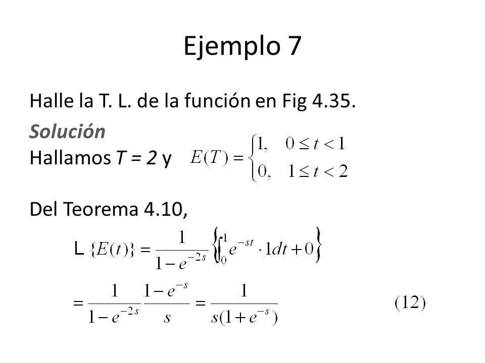 Ejemplo 7 Halle la T. L. de la función en Fig 4.35.
