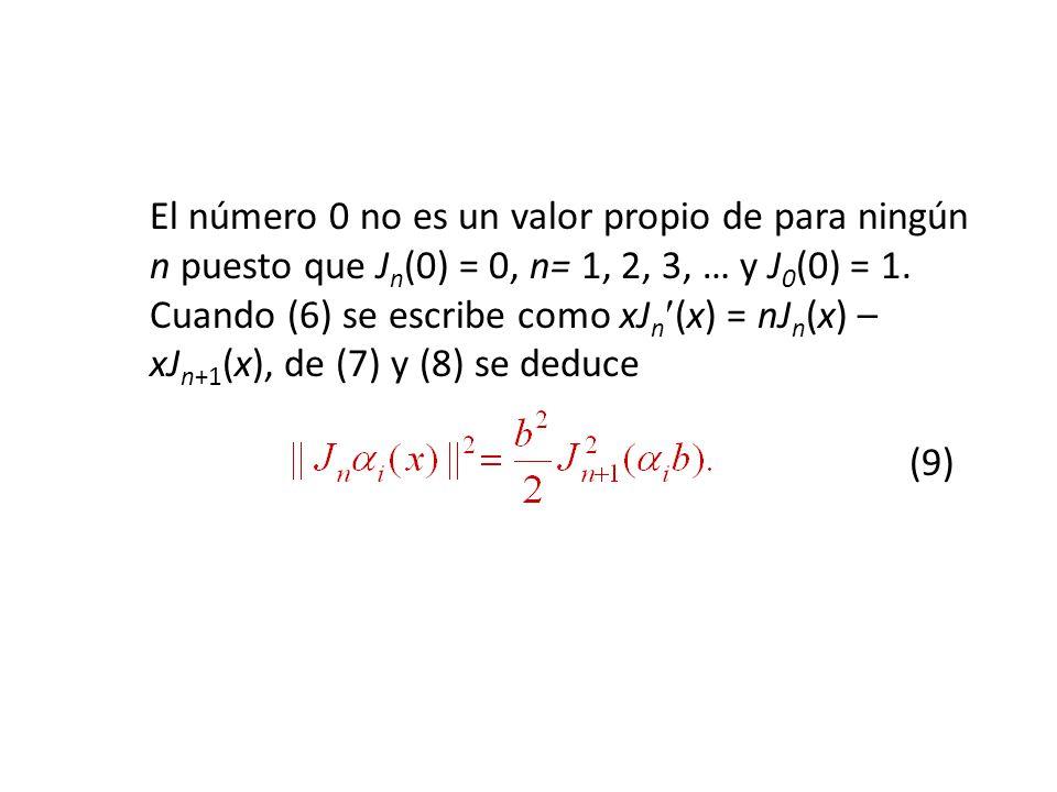 El número 0 no es un valor propio de para ningún n puesto que Jn(0) = 0, n= 1, 2, 3, … y J0(0) = 1.