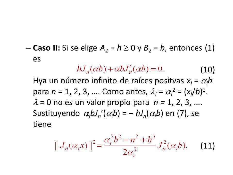 Caso II: Si se elige A2 = h  0 y B2 = b, entonces (1) es