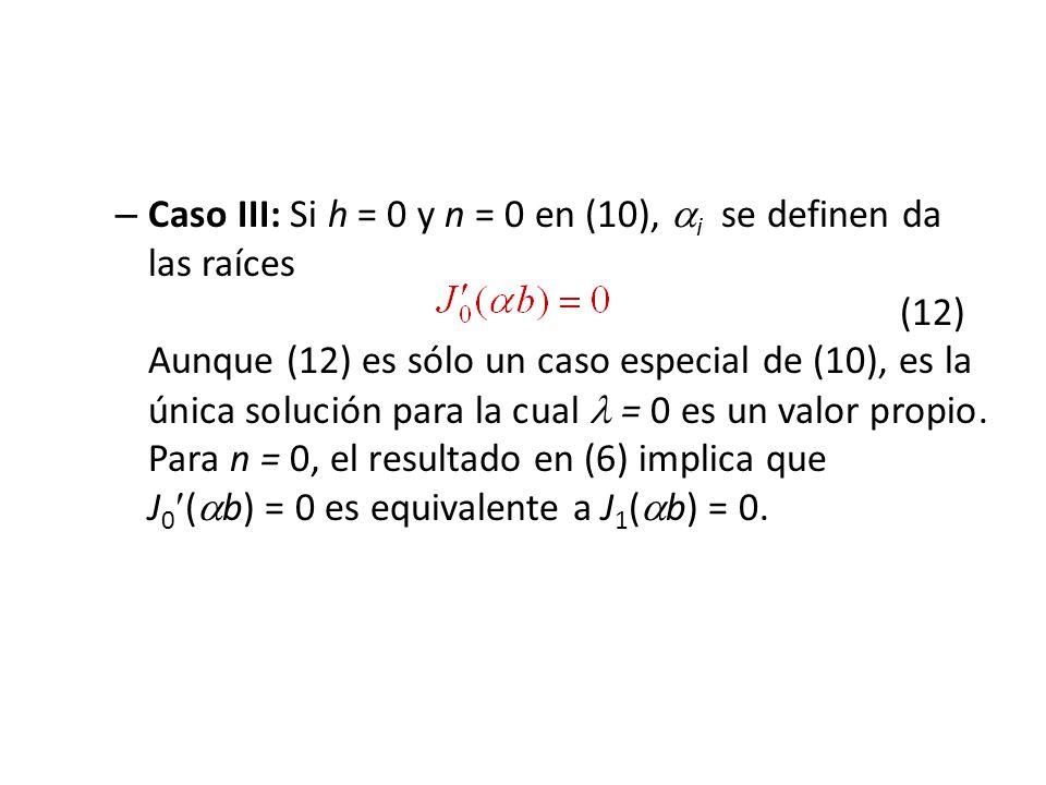 Caso III: Si h = 0 y n = 0 en (10), i se definen da las raíces