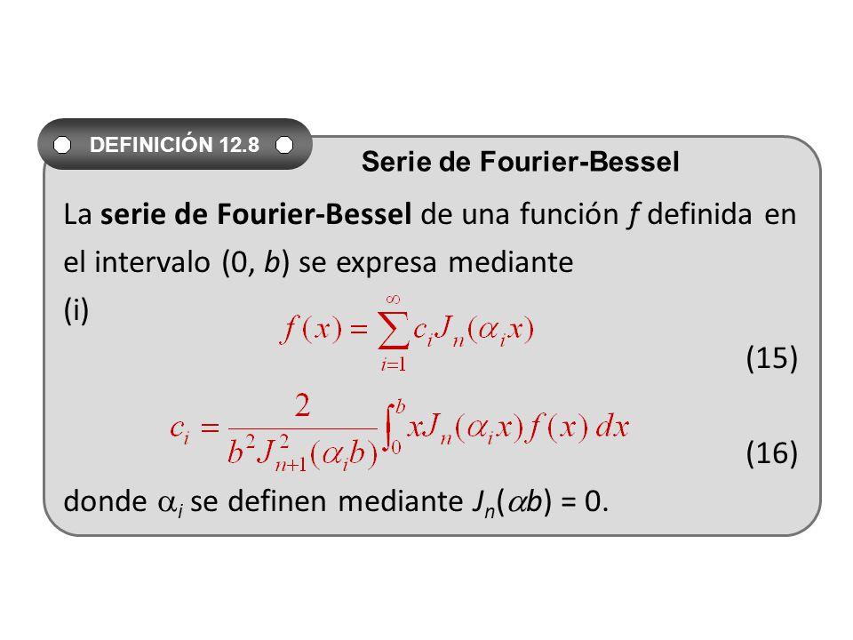La serie de Fourier-Bessel de una función f definida en