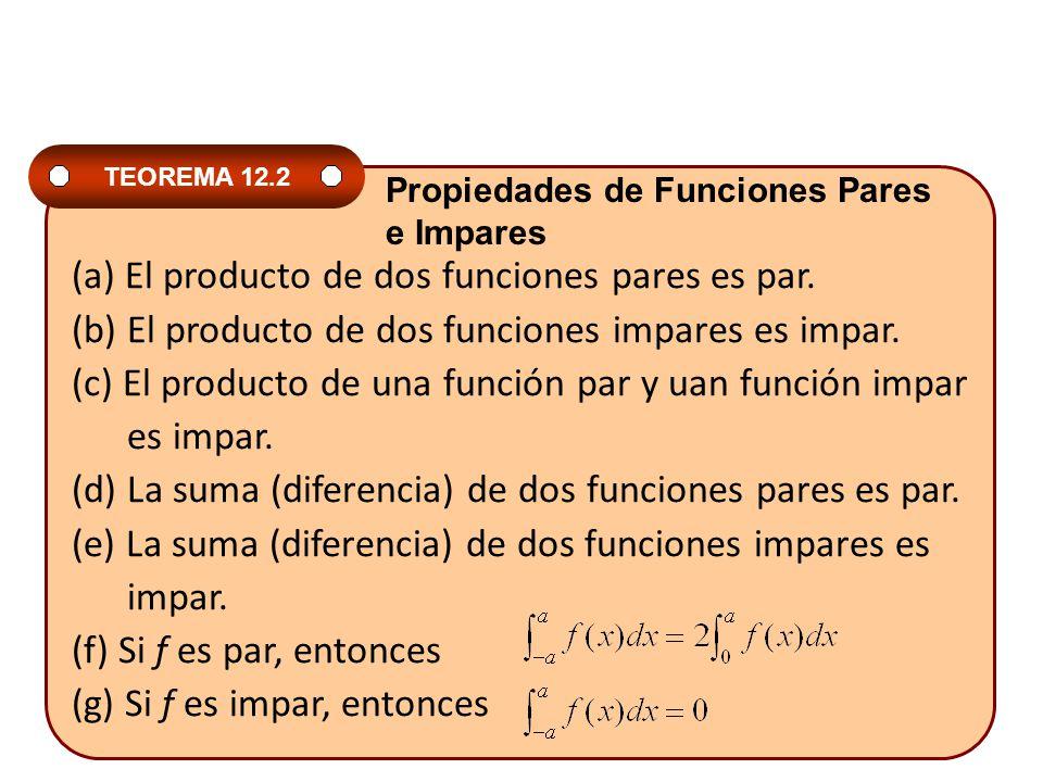 (a) El producto de dos funciones pares es par.