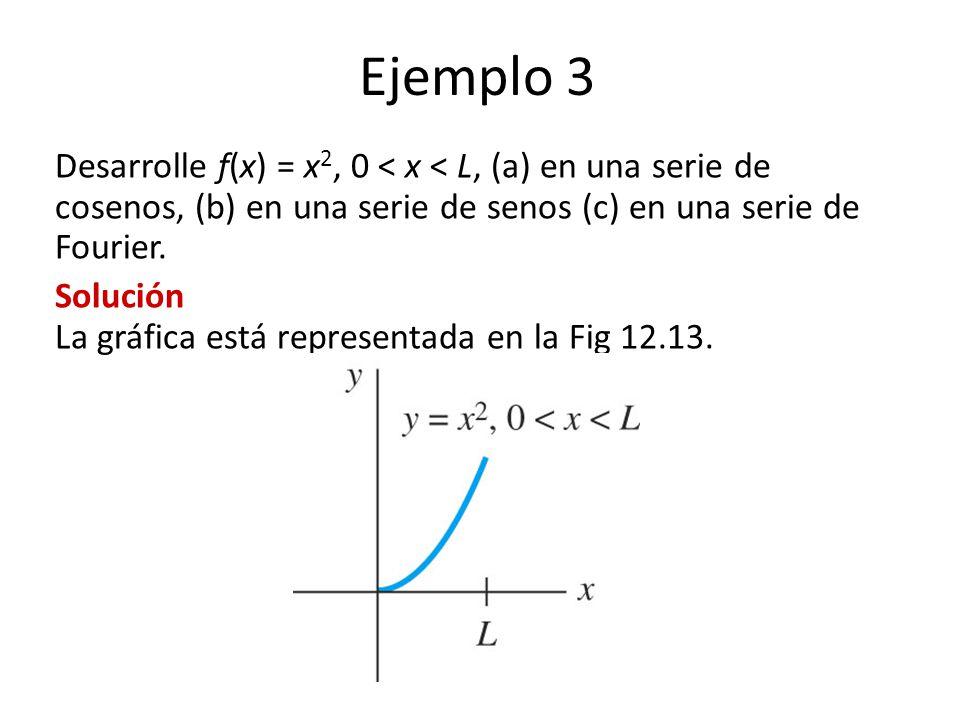 Ejemplo 3 Desarrolle f(x) = x2, 0 < x < L, (a) en una serie de cosenos, (b) en una serie de senos (c) en una serie de Fourier.