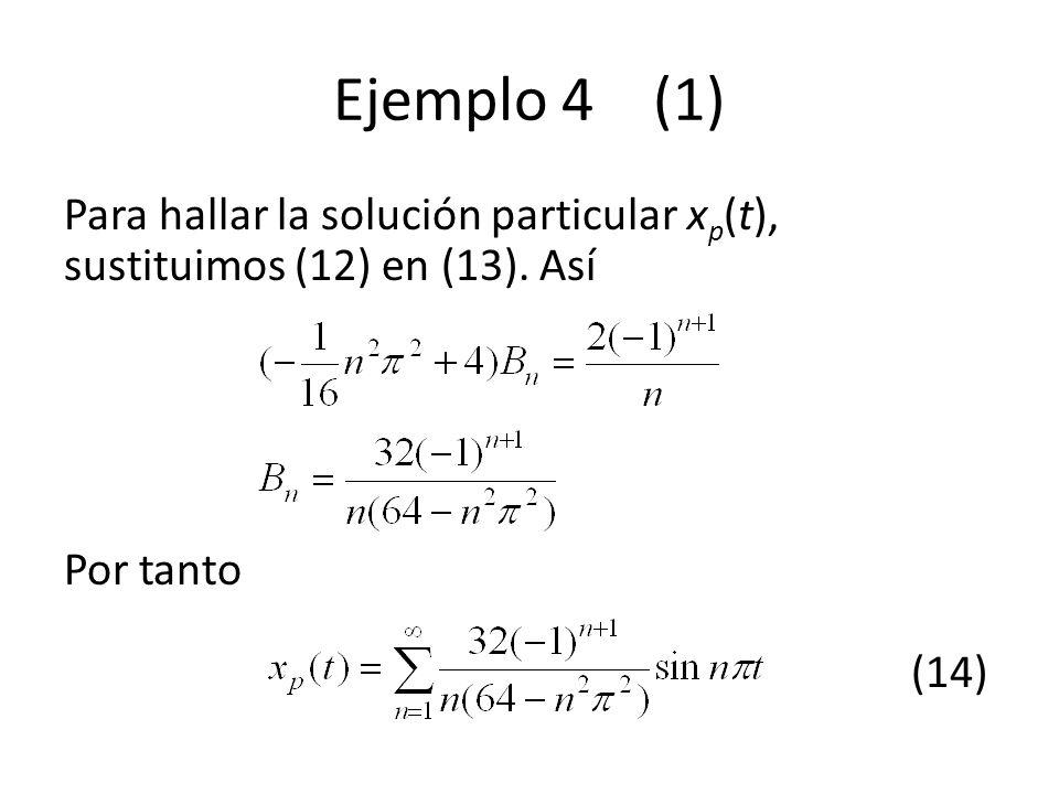Ejemplo 4 (1) Para hallar la solución particular xp(t), sustituimos (12) en (13).