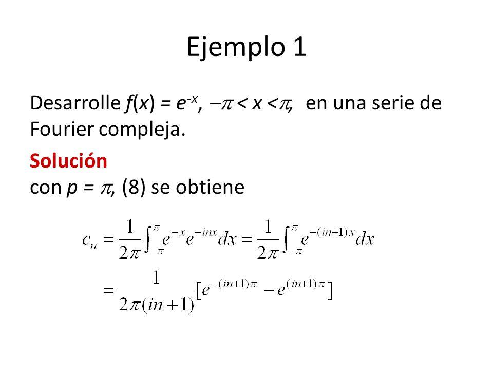 Ejemplo 1 Desarrolle f(x) = e-x,  < x <, en una serie de Fourier compleja.