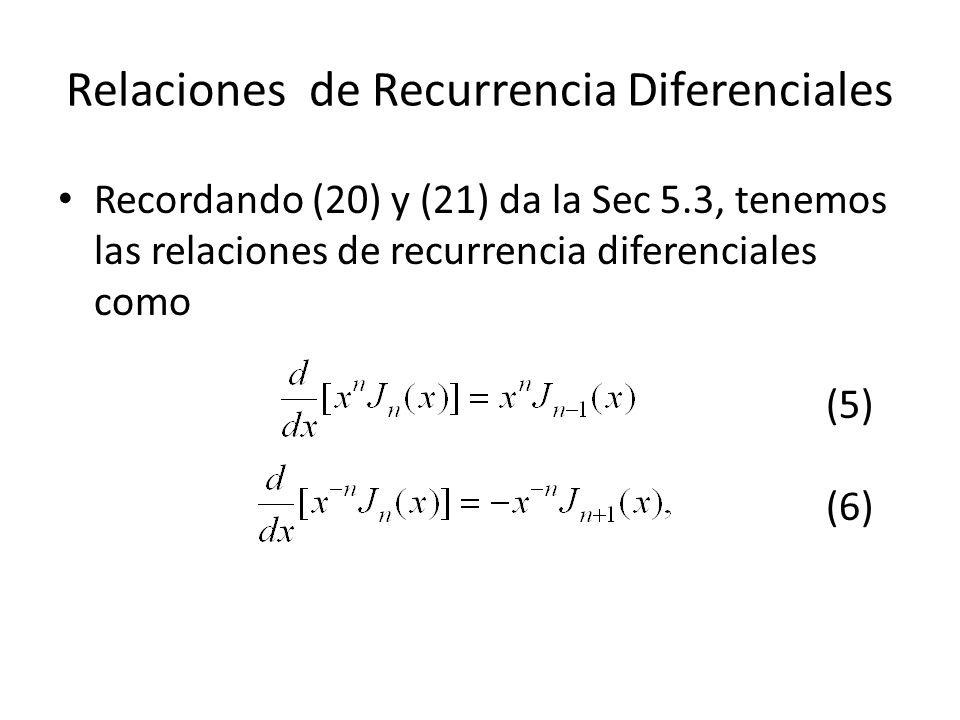 Relaciones de Recurrencia Diferenciales