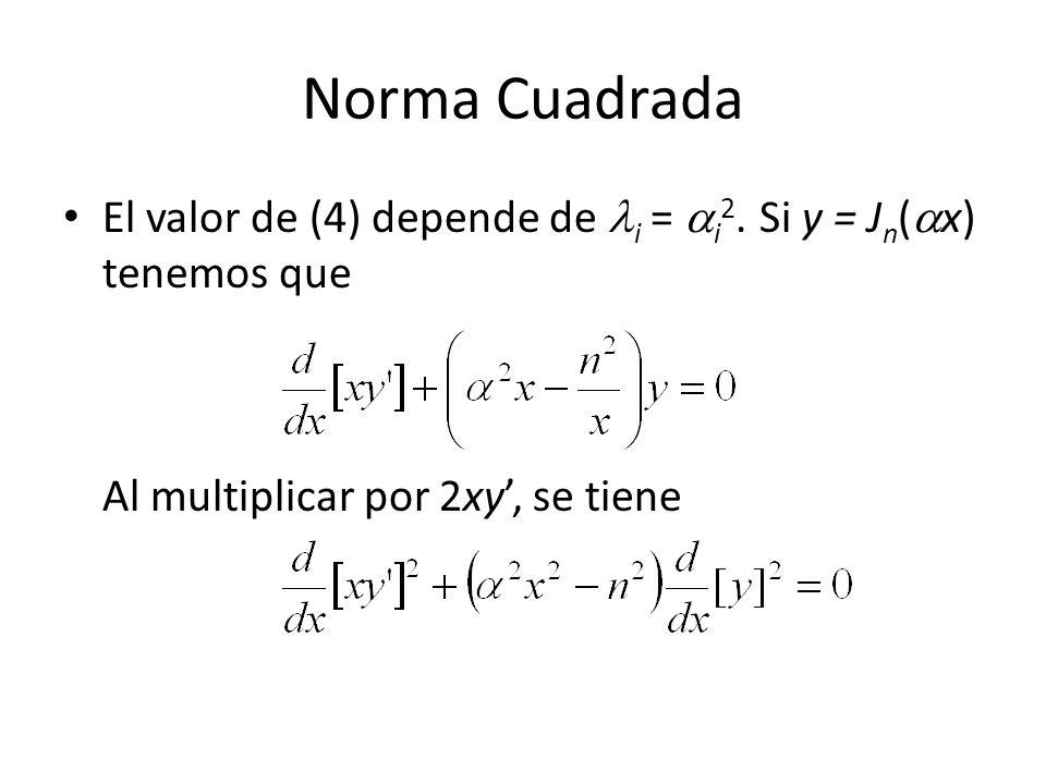 Norma Cuadrada El valor de (4) depende de i = i2.