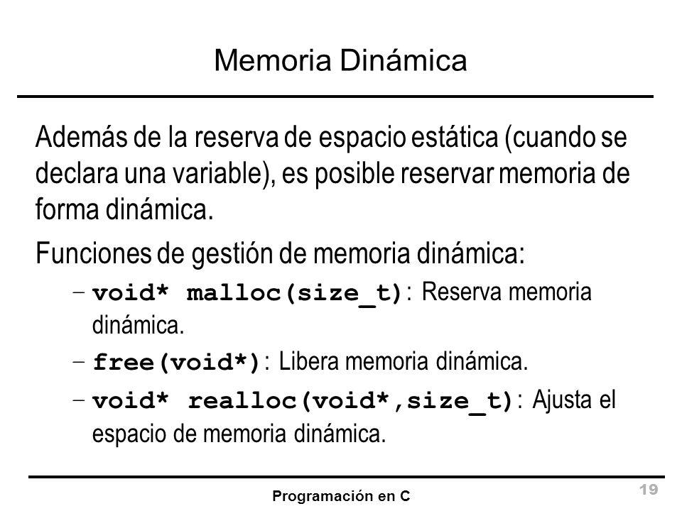 Funciones de gestión de memoria dinámica: