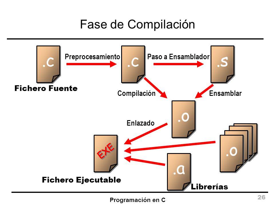.c .c .s .o .o .o .o .o .a Fase de Compilación EXE Preprocesamiento