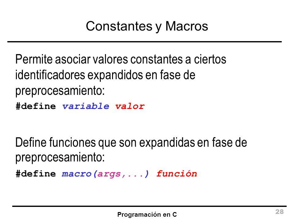 Define funciones que son expandidas en fase de preprocesamiento: