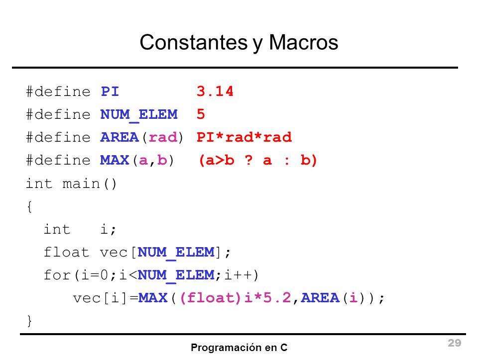 Constantes y Macros #define PI 3.14 #define NUM_ELEM 5