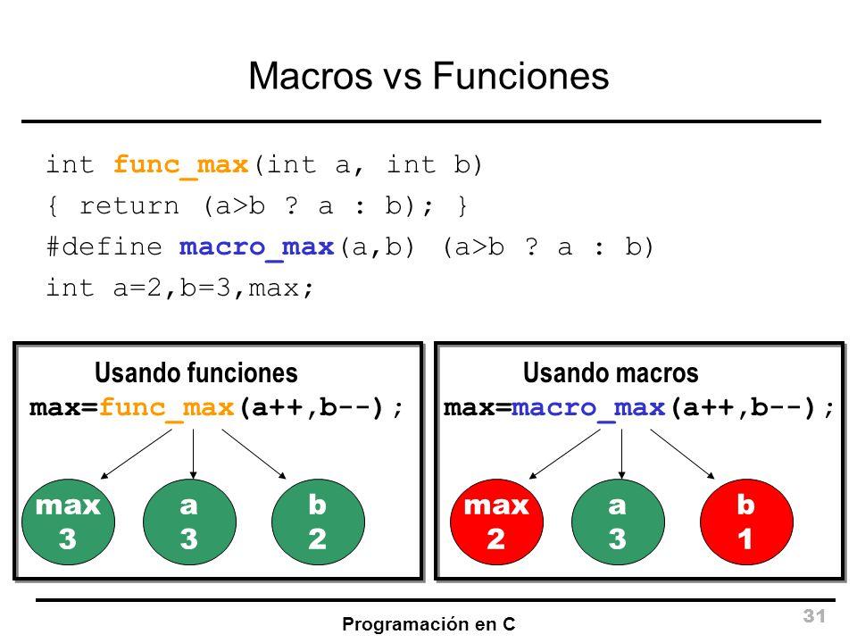 Macros vs Funciones int func_max(int a, int b)
