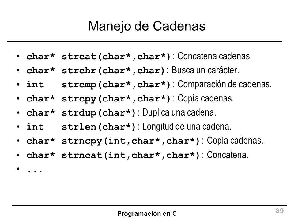 Manejo de Cadenas char* strcat(char*,char*): Concatena cadenas.