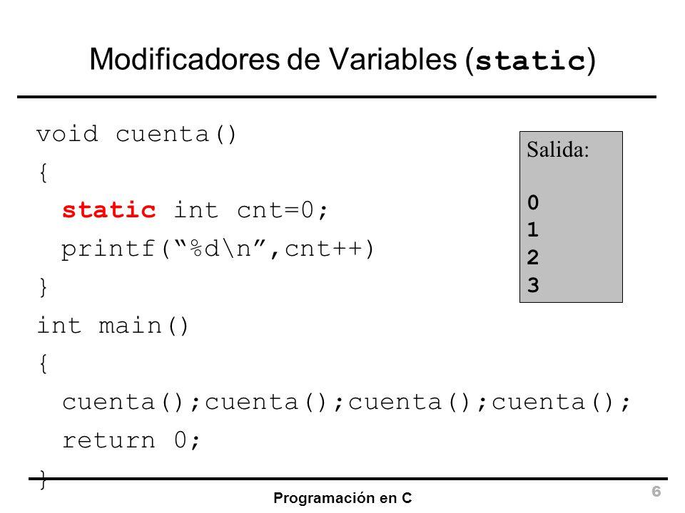 Modificadores de Variables (static)