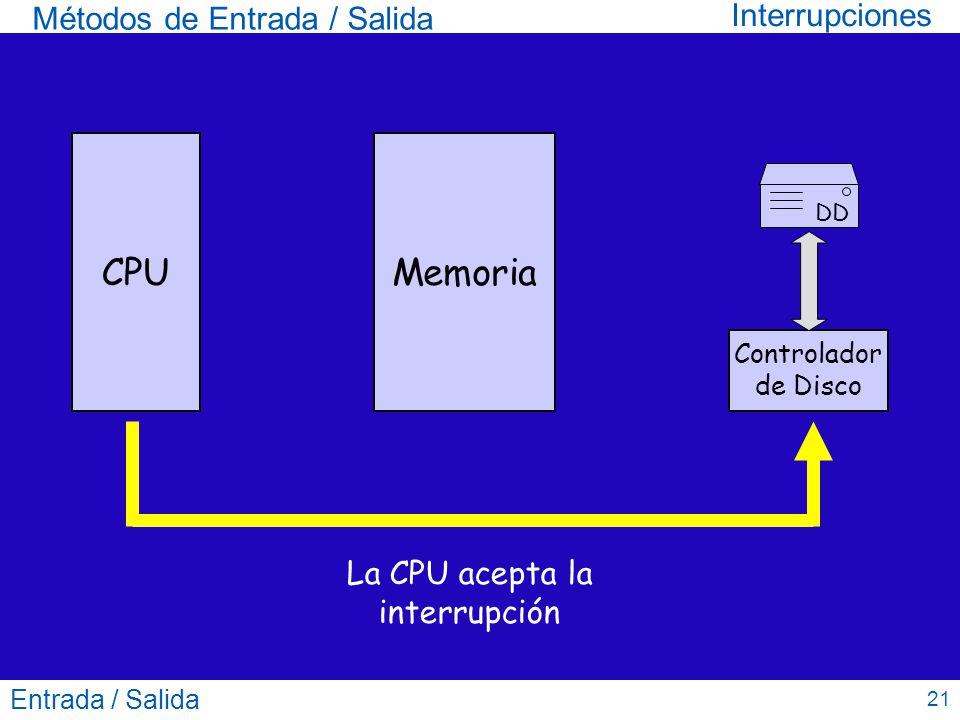 La CPU acepta la interrupción