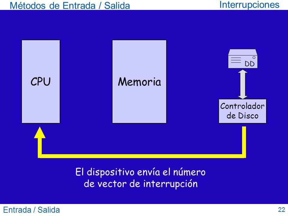 El dispositivo envía el número de vector de interrupción