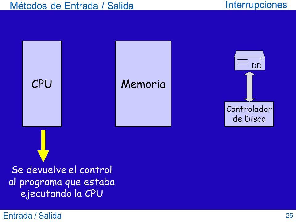 Se devuelve el control al programa que estaba ejecutando la CPU