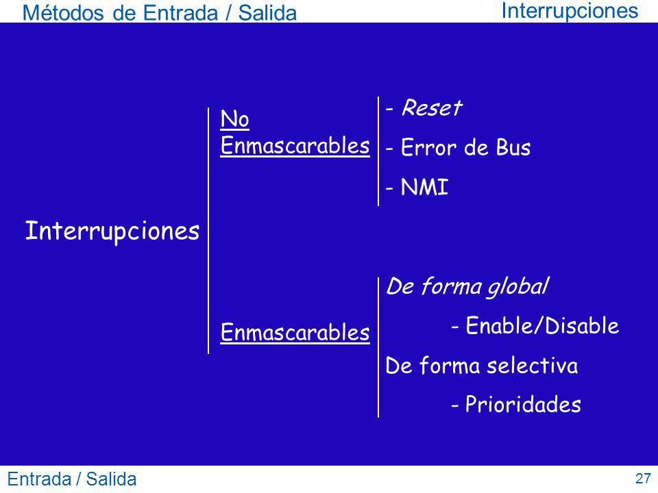 Interrupciones Interrupciones Métodos de Entrada / Salida - Reset