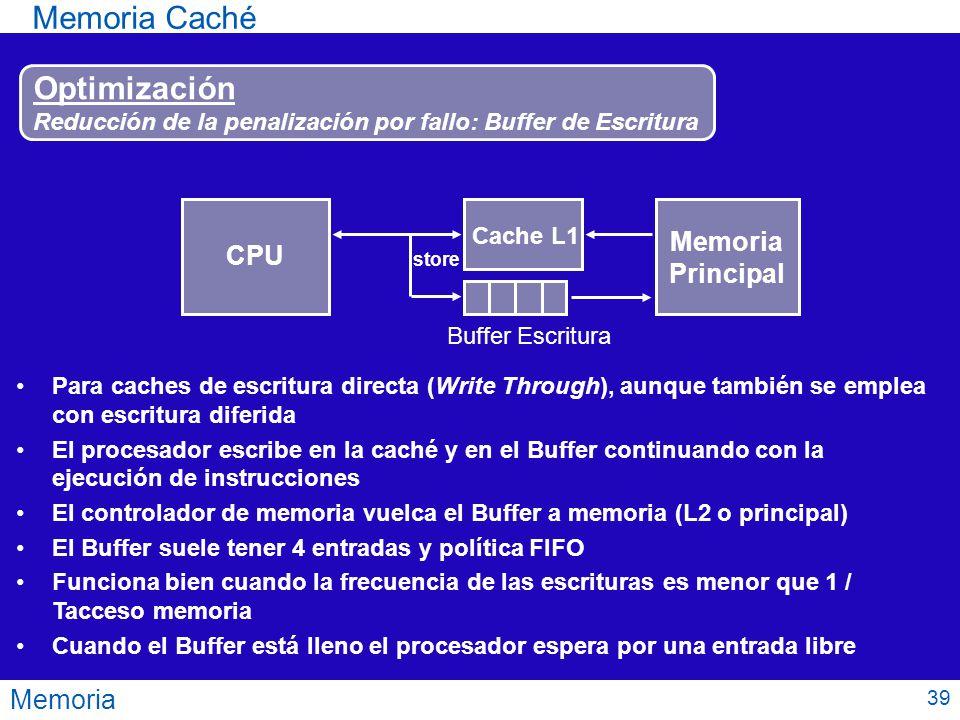 Memoria Caché Optimización Memoria CPU Principal Memoria