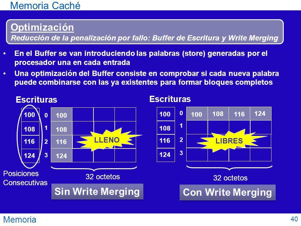 Memoria Caché Optimización Sin Write Merging Con Write Merging