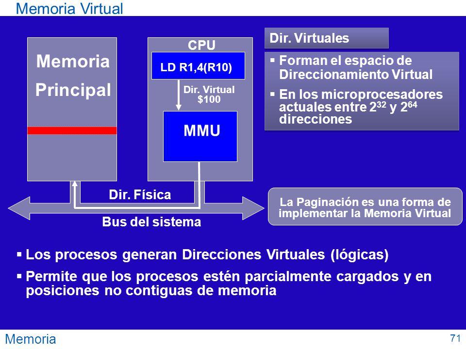 La Paginación es una forma de implementar la Memoria Virtual