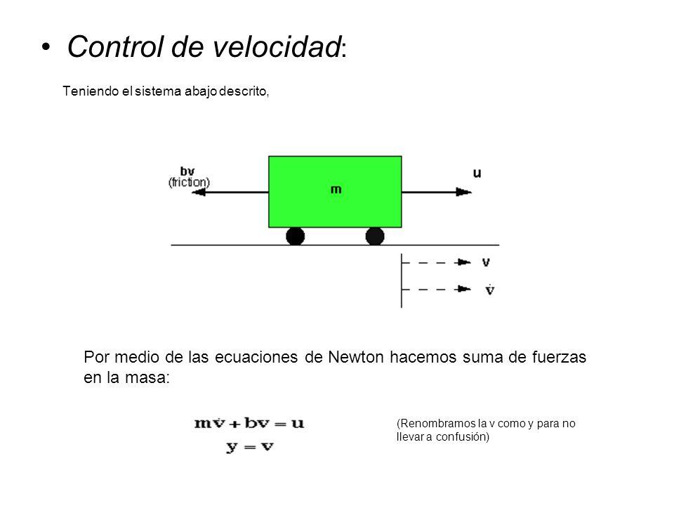 Control de velocidad: Teniendo el sistema abajo descrito,