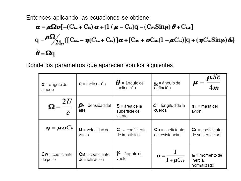 Entonces aplicando las ecuaciones se obtiene: