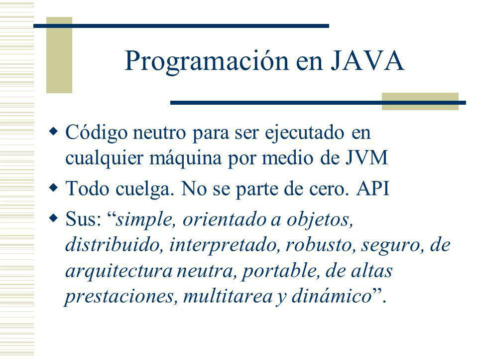 Programación en JAVA Código neutro para ser ejecutado en cualquier máquina por medio de JVM. Todo cuelga. No se parte de cero. API.