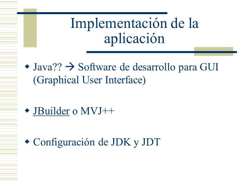 Implementación de la aplicación