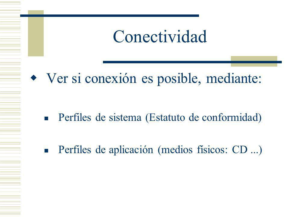 Conectividad Ver si conexión es posible, mediante: