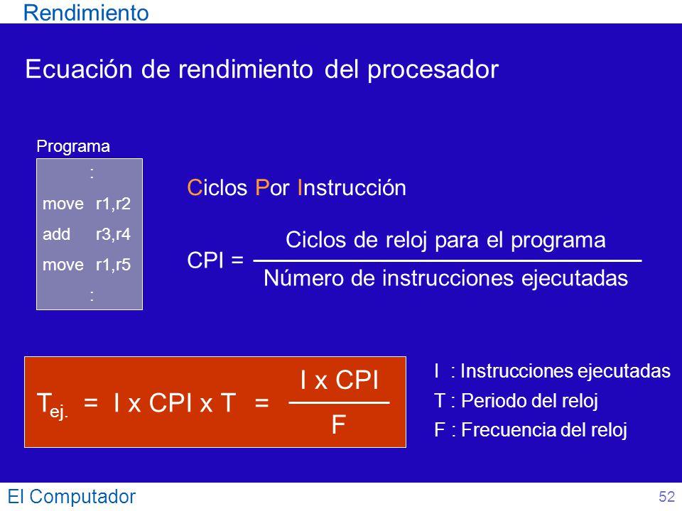 Ecuación de rendimiento del procesador