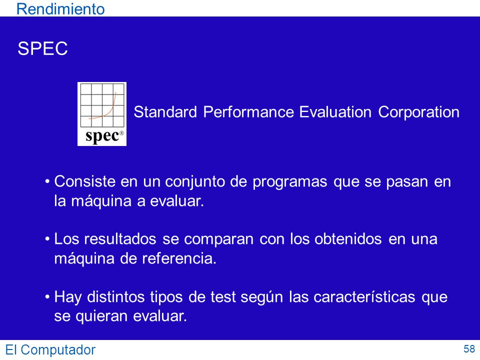 SPEC Rendimiento Standard Performance Evaluation Corporation