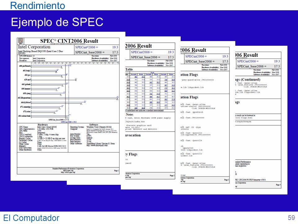 Rendimiento Ejemplo de SPEC 59 El Computador