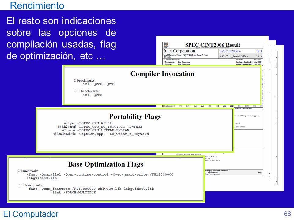 Rendimiento El resto son indicaciones sobre las opciones de compilación usadas, flag de optimización, etc …