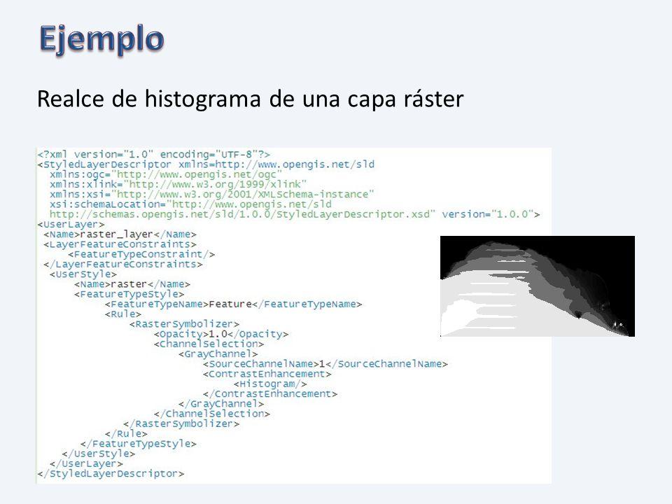 Ejemplo Realce de histograma de una capa ráster